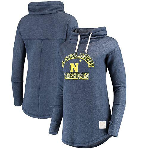 Women's Original Retro Brand Navy Navy Midshipmen Funnel Neck Pullover Sweatshirt