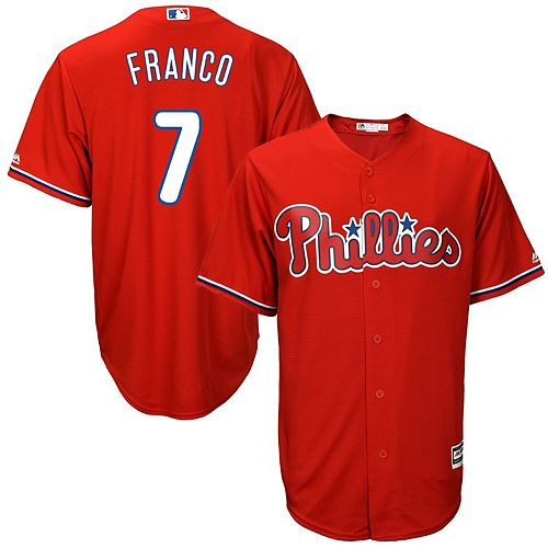 Men's Majestic Maikel Franco Scarlet Philadelphia Phillies Big & Tall Fashion Cool Base Replica Player Jersey