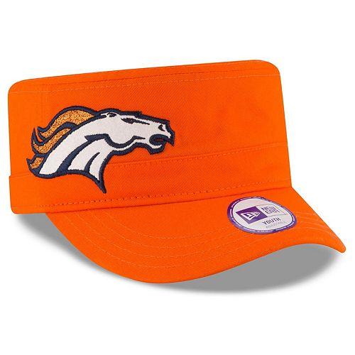Girls Youth New Era Orange Denver Broncos Team Glisten Military Adjustable Hat