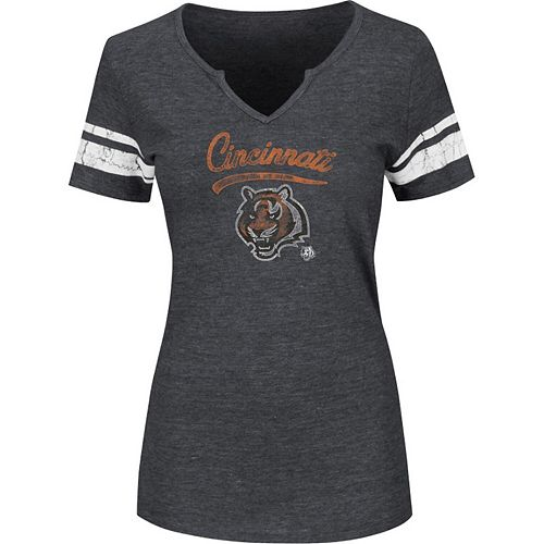 Women's Majestic Charcoal Cincinnati Bengals Plus Size Game Tradition T-Shirt