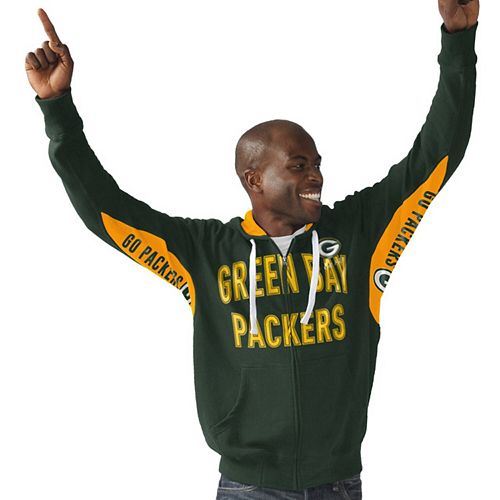 Men's Hands High Green Green Bay Packers Sueded Playoff Full-Zip Hoodie