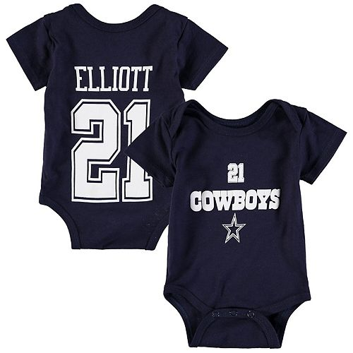 Newborn & Infant Ezekiel Elliott Navy Dallas Cowboys Player Name & Number Bodysuit
