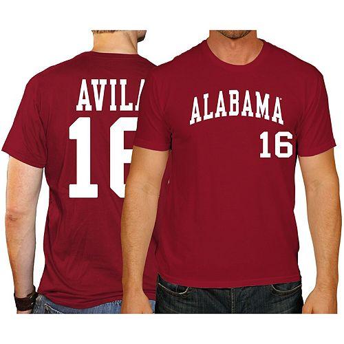 Men's Original Retro Brand Alex Avila Crimson Alabama Crimson Tide Baseball Name & Number T-Shirt