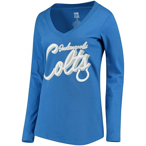 Women's Royal Indianapolis Colts Scrimmage 1-Hit V-Neck T-Shirt