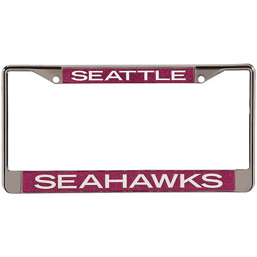 Seattle Seahawks Pink Glitter License Plate Frame with White Lettering