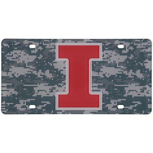 Illinois Fighting Illini Digi Camo Laser Cut License Plate