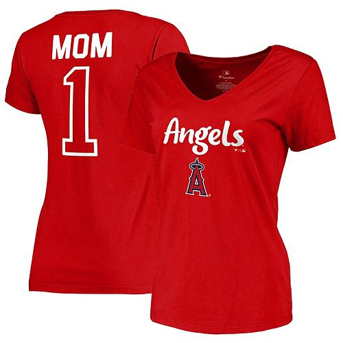 Los Angeles Angels Fanatics Branded Women's 2019 Mother's Day #1 Mom V-Neck T-Shirt - Red