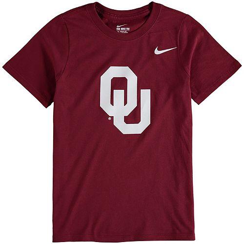 Youth Nike Crimson Oklahoma Sooners Cotton Logo T-Shirt