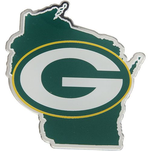 Green Bay Packers State Shape Acrylic Metallic Auto Emblem