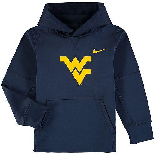 Youth Nike Navy West Virginia Mountaineers Logo KO Pullover Performance Hoodie