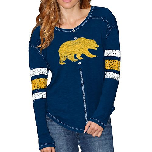 Women's Original Retro Brand Navy Cal Bears Sleeve Striped Henley Long Sleeve T-Shirt