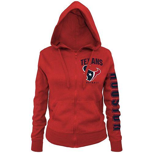 Women's New Era Red Houston Texans Playbook Glitter Sleeve Full-Zip Hoodie