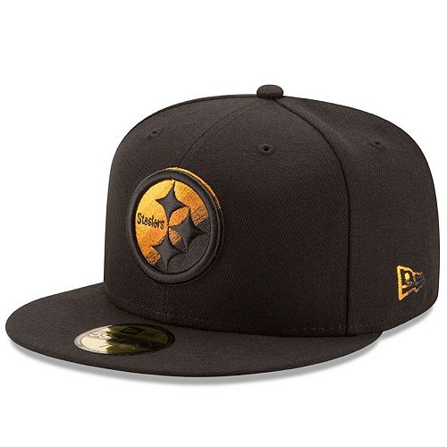 Men's New Era Black Pittsburgh Steelers Color Dim 59FIFTY Fitted Hat