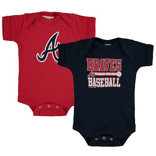 Newborn & Infant Soft as a Grape Navy/Red Atlanta Braves 2-Piece Body Suit