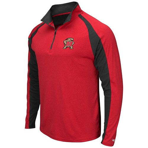 Men's Colosseum Heathered Red Maryland Terrapins The J. Peterman Quarter-Zip Pullover Jacket