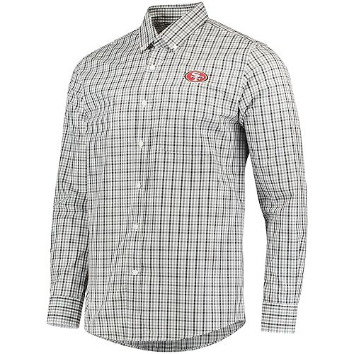 Men's Cutter & Buck Black San Francisco 49ers Epic Easy Care Gilman Plaid Long Sleeve Button-Down Shirt