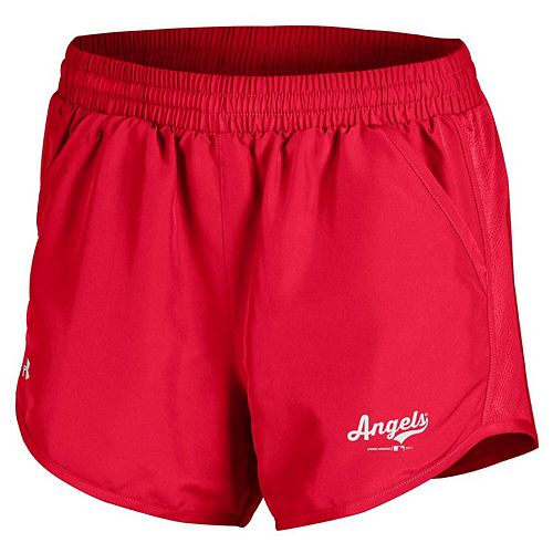 Women's Under Armour Red Los Angeles Angels Fly By Performance Running Shorts