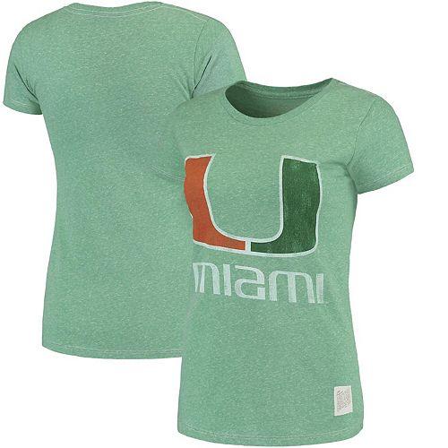 Women's Original Retro Brand Heathered Kelly Green Miami Hurricanes Tri-Blend Crew Neck T-Shirt