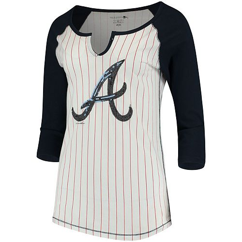 Women's 5th & Ocean by New Era White/Navy Atlanta Braves Pinstripe 3/4-Sleeve Notch Neck Raglan T-Shirt