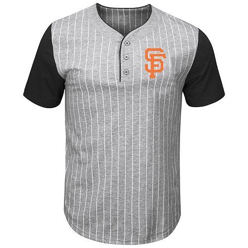Men's Majestic Gray/Black San Francisco Giants Life Or Death Pinstripe Henley T-Shirt