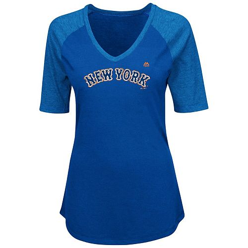 Women's Majestic Royal New York Mets Plus Size Quick Hands Half-Sleeve V-Neck Raglan T-Shirt