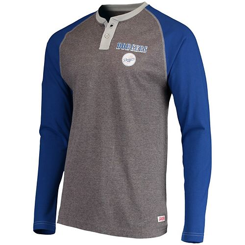 Men's Stitches Heathered Gray/Royal Los Angeles Dodgers Home Run Long Sleeve Henley T-Shirt