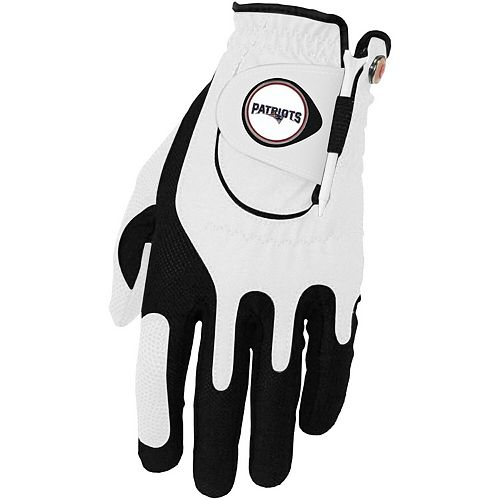 Men's White New England Patriots Left Hand Golf Glove & Ball Marker Set