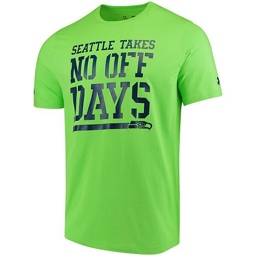 Men's Under Armour Neon Green Seattle Seahawks Combine Authentic No Days Off T-Shirt