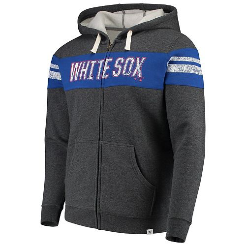 Men's Fanatics Branded Heathered Charcoal Chicago White Sox True Classics Full-Zip Hoodie