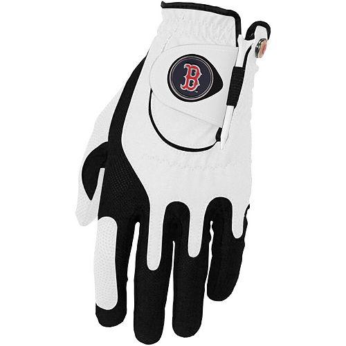Men's White Boston Red Sox Left Hand Golf Glove & Ball Marker Set