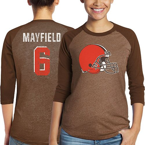Women's Majestic Baker Mayfield Brown Cleveland Browns Player Name & Number Tri-Blend 3/4-Sleeve Raglan T-Shirt