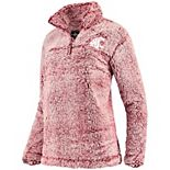 Women's Crimson Washington State Cougars Sherpa Super Soft Quarter Zip Pullover Jacket