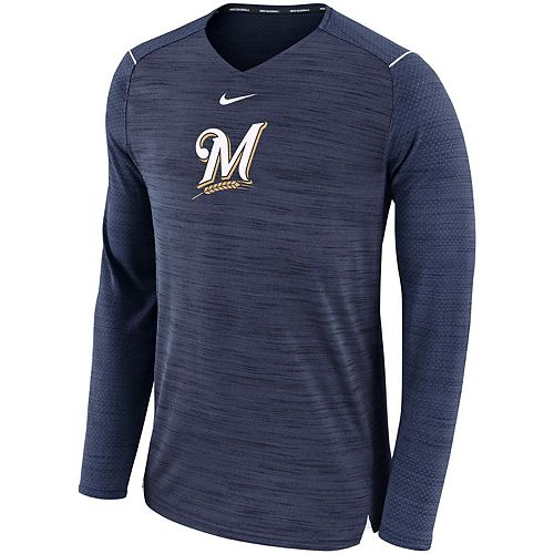 Men's Nike Navy Milwaukee Brewers AC Breathe Long Sleeve Performance T-Shirt