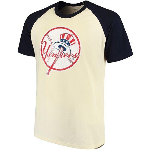 Men's Majestic Threads Cream/Navy New York Yankees Softhand Raglan T-Shirt