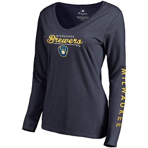 Women's Fanatics Branded Navy Milwaukee Brewers High Class Long Sleeve V-Neck T-Shirt