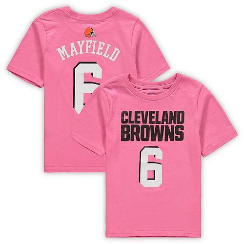 Girls Toddler Baker Mayfield Pink Cleveland Browns Player Mainliner Name & Number T-Shirt