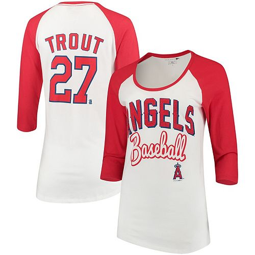 Women's 5th & Ocean by New Era Mike Trout White/Red Los Angeles Angels Glitter 3/4-Sleeve Raglan T-Shirt