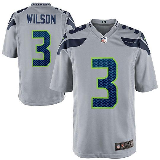 Mens Seattle Seahawks Russell Wilson Nike Gray Alternate Game ...