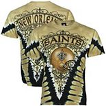 Men's Majestic Vegas Gold/Black New Orleans Saints V Tie-Dye T-Shirt