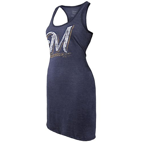 Women's Majestic Threads Navy Milwaukee Brewers Tri-Blend Racerback Sleeveless Dress