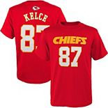 Youth #87 Travis Kelce Red Kansas City Chiefs Mainliner Name & Number T-Shirt