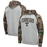 Men's Colosseum Heathered Gray/Realtree Camo Tennessee Volunteers Arch & Logo 2.0 Raglan Pullover Hoodie