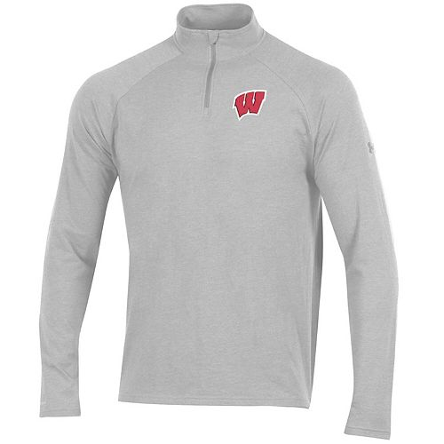Men's Under Armour Heathered Gray Wisconsin Badgers Charged Cotton Quarter-Zip Jacket