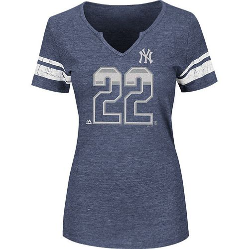 Women's Majestic Jacoby Ellsbury Navy New York Yankees Act Invincible Tri-Blend T-Shirt