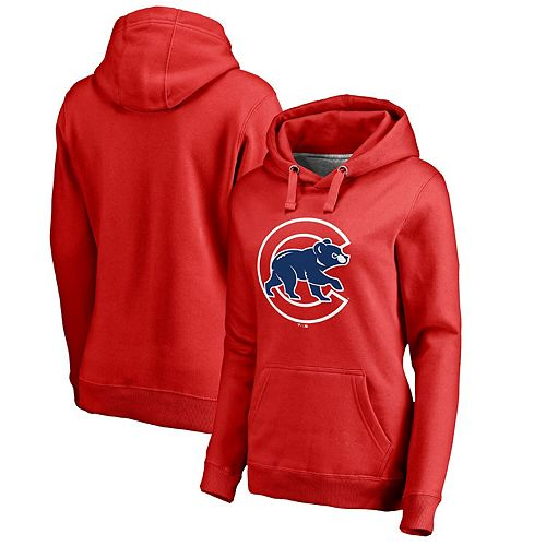 Women's Fanatics Branded Red Chicago Cubs Primary Logo Pullover Hoodie