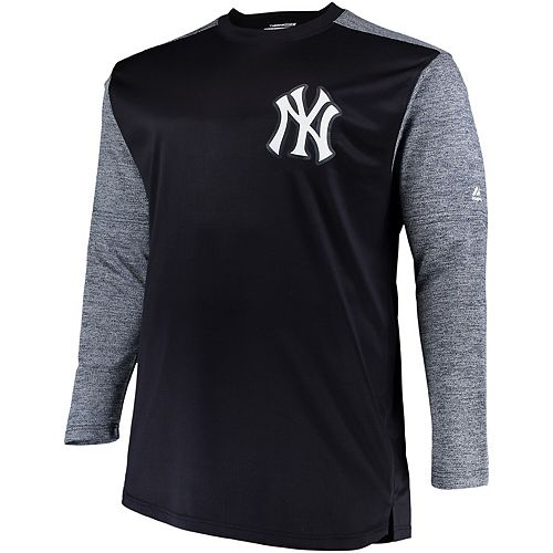 Men's Majestic Navy/Gray New York Yankees Big & Tall On-Field Tech Fleece Sweatshirt