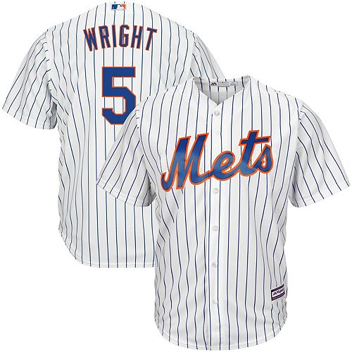 Men's Majestic David Wright White/Royal New York Mets Home Big & Tall Replica Cool Base Player Jersey