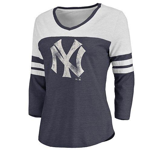 Women's Navy/White New York Yankees Two Tone Cooperstown Three-Quarter Sleeve Tri-Blend T-Shirt