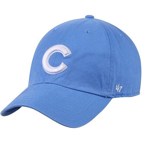 Men's '47 Light Blue Chicago Cubs C Big Logo Clean Up Adjustable Hat