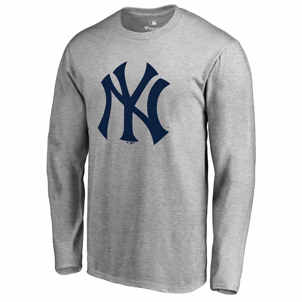 Men's Fanatics Branded Heathered Gray New York Yankees Primary Team Logo T-Shirt AyNb6